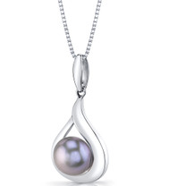 Sterling Silver 10.00mm Freshwater Cultured Grey Pearl Pendant Necklace SP11332