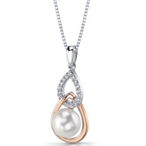 10.00mm Freshwater Cultured White Pearl Rose Goldtone Sterling Silver Pendant Necklace SP11338