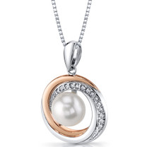 Rose Goldtone 9.0mm Freshwater Cultured White Pearl Halo Sterling Silver Pendant Necklace SP11342