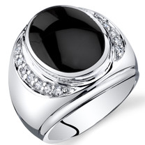 Mens Oval Cut Onyx Godfather Ring Sterling Silver Sizes 8 To 13 SR11496
