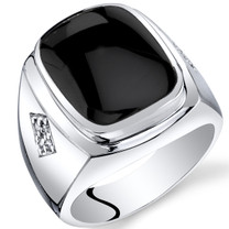 Mens Cushion Cut Onyx Knight Ring Sterling Silver Sizes 8 To 13 SR11498