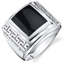 Mens Greek Key Onyx Chunky Ring Sterling Silver Sizes 8 To 13 SR11500