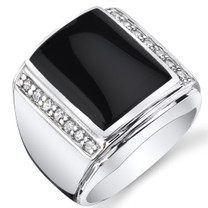 Mens Black Onyx Aston 925 Sterling Silver CZ Ring Sizes 8 To 13 SR11502