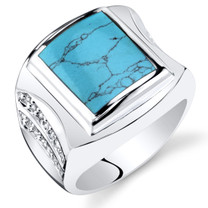 Mens Simulated Turquoise Centurion Ring Sterling Silver Sizes 8 To 13 SR11504