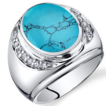 Mens Oval Cut Simulated Turquoise Godfather Ring Sterling Silver Sizes 8 To 13 SR11506