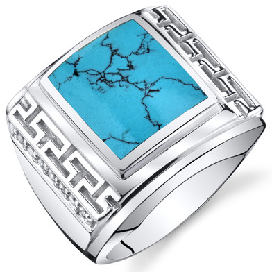Mens Greek Key Simulated Turquoise Chunky Ring Sterling Silver Sizes 8 To 13 SR11510