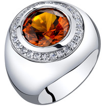 Mens 6 Carats Created Cognac Sapphire Signet Ring Sterling Silver Sizes 8 to 13 SR11524