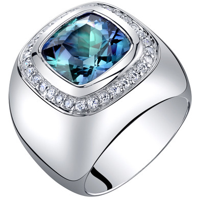Mens 7 Carats Simulated Alexandrite Ring Sterling Silver Cushion Cut Sizes 8 to 13 SR11526