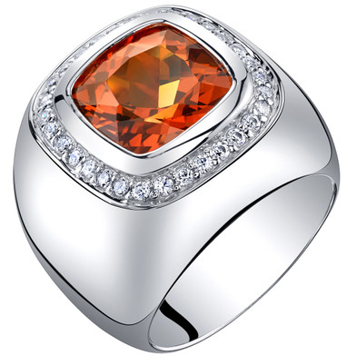 Mens 7.50 Carats Created Padparadscha Sapphire Ring Sterling Silver Sizes 8 to 13 SR11528
