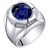 Mens 6 Carats Created Sapphire Octagon Ring Steriling Silver Sizes 8 to 13 SR11532