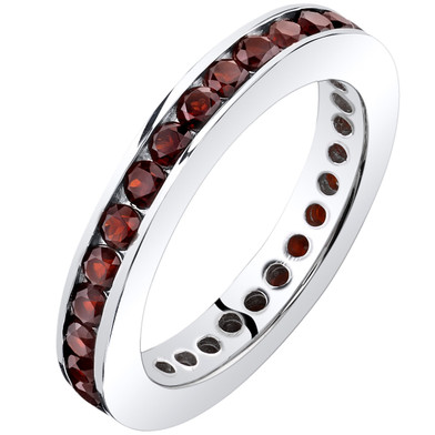 Garnet Eternity Band Ring Sterling Silver 1.00 Carats Sizes 5-9 SR11540