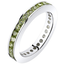 Peridot Eternity Band Ring Sterling Silver 1.00 Carats Sizes 5-9 SR11542