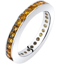 Citrine Eternity Band Ring Sterling Silver 1.00 Carats Sizes 5-9 SR11544
