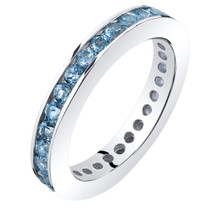 Swiss Blue Topaz Eternity Band Ring Sterling Silver 1.25 Carats Sizes 5-9 SR11546