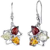 Baltic Amber Star Leaf Dangle Earrings Sterling Silver Multiple Color SE8724