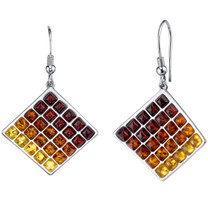 Baltic Amber Waffle Pattern Dangle Earrings Sterling Silver Multiple Color SE8726