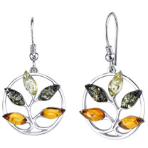 Baltic Amber Tree Dangle Earrings Sterling Silver Multiple Color SE8728