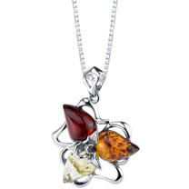 Baltic Amber Star Leaf Pendant Necklace Sterling Silver Multiple Color SP11346
