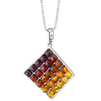 Baltic Amber Waffle Pattern Pendant Necklace Sterling Silver Multiple Color SP11348