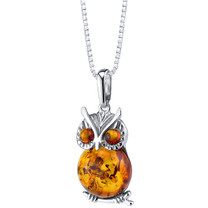 Baltic Amber Owl Pendant Necklace Sterling Silver Multiple Color SP11352