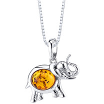 Baltic Amber Elephant Pendant Necklace Sterling Silver Multiple Color SP11354