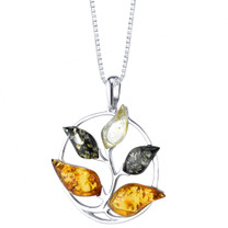 Baltic Amber Tree Pendant Necklace Sterling Silver Multiple Color SP11356