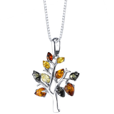 Baltic Amber Tree of Life Pendant Necklace Sterling Silver Multiple Color SP11358