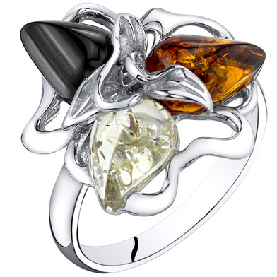 Baltic Amber Star Leaf Ring Multiple Color Sterling Silver Sizes 5-9 SR11554