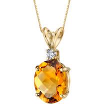 14 Karat Yellow Gold Oval Shape 2.25 Carats Citrine Diamond Pendant