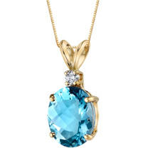 14 Karat Yellow Gold Oval Shape 3.00 Carats Swiss Blue Topaz Diamond Pendant
