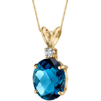 14 Karat Yellow Gold Oval Shape 3.00 Carats London Blue Topaz Diamond Pendant
