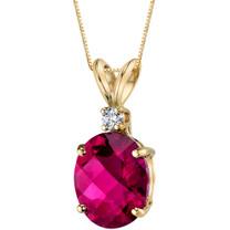 14 Karat Yellow Gold Oval Shape 3.50 Carats Created Ruby Diamond Pendant