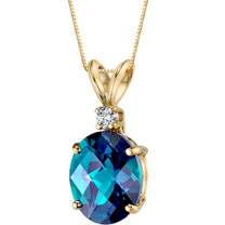 14 Karat Yellow Gold Oval Shape 3.25 Carats Created Alexandrite Diamond Pendant