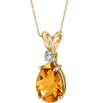 14 Karat Yellow Gold Pear Shape 1.50 Carats Citrine Diamond Pendant