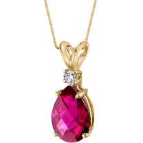 14 Karat Yellow Gold Pear Shape 2.50 Carats Created Ruby Diamond Pendant