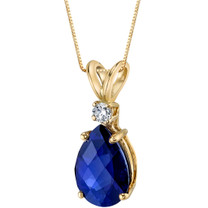 14 Karat Yellow Gold Pear Shape 2.50 Carats Created Blue Sapphire Diamond Pendant