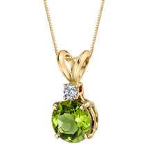 14 Karat Yellow Gold Round Cut 1.00 Carats Peridot Diamond Pendant