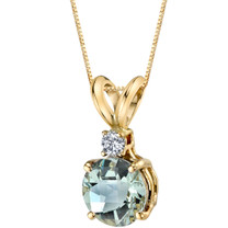 14 Karat Yellow Gold Round Cut 1.00 Carats Green Amethyst Diamond Pendant