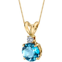14 Karat Yellow Gold Round Cut 1.25 Carats Swiss Blue Topaz Diamond Pendant