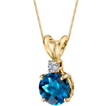 14 Karat Yellow Gold Round Cut 1.25 Carats London Blue Topaz Diamond Pendant