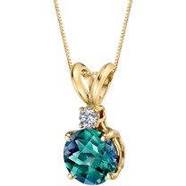 14 Karat Yellow Gold Round Cut 1.25 Carats Created Alexandrite Diamond Pendant