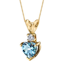 14 Karat Yellow Gold Heart Shape 0.75 Carats Aquamarine Diamond Pendant