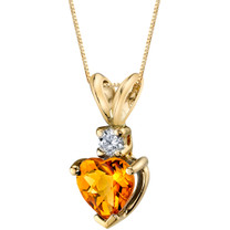 14 Karat Yellow Gold Heart Shape 0.75 Carats Citrine Diamond Pendant