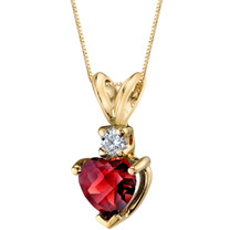14 Karat Yellow Gold Heart Shape 1.50 Carats Garnet Diamond Pendant