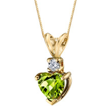 14 Karat Yellow Gold Heart Shape 1.00 Carats Peridot Diamond Pendant
