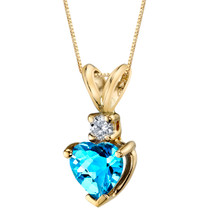 14 Karat Yellow Gold Heart Shape 1.00 Carats Swiss Blue Topaz Diamond Pendant