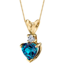 14 Karat Yellow Gold Heart Shape 1.00 Carats Created Alexandrite Diamond Pendant P9654