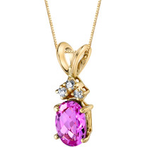 14 Karat Yellow Gold Oval Shape 1.00 Carats Created Pink Sapphire Diamond Pendant P9678