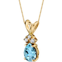 14 Karat Yellow Gold Pear Shape 0.50 Carats Aquamarine Diamond Pendant P9686
