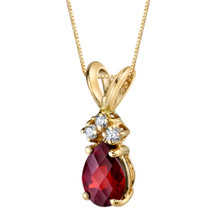 14 Karat Yellow Gold Pear Shape 1.00 Carats Garnet Diamond Pendant P9692